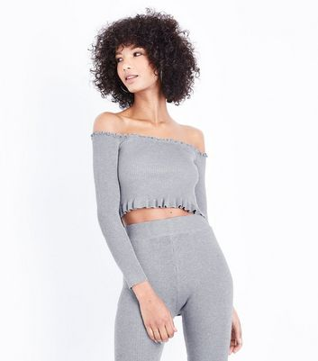 Cameo Rose Grey Frill Trim Bardot Neck Crop Top