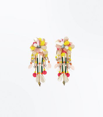 Yellow Floral Sequin Drop Earrings