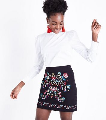 Black Floral Embroidered Front Mini Skirt
