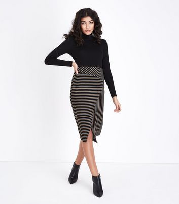 Black Stripe Pencil Skirt