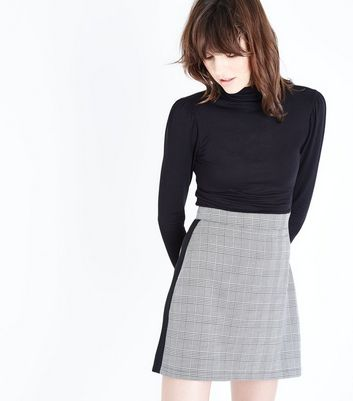 Black Side Stripe Prince of Wales Check Mini Skirt