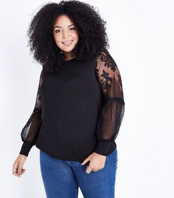 Curves Black Lace Balloon Sleeve Jumper