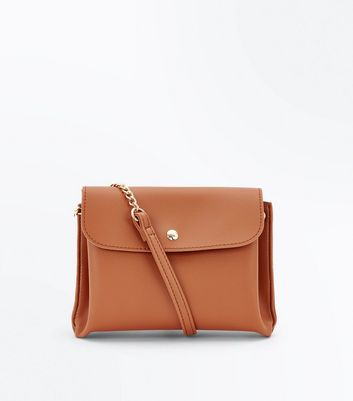 Tan Foldover Cross Body Bag
