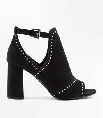 Black Suedette Studded Peep Toe Block Heels