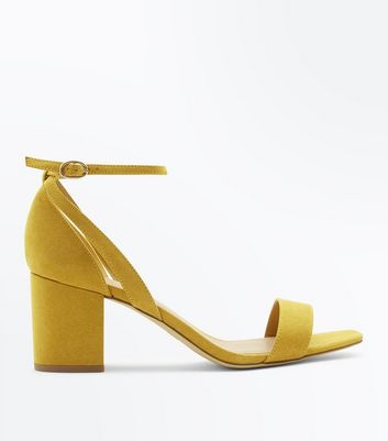Wide Fit Mustard Suedette Square Toe Heeled Sandals