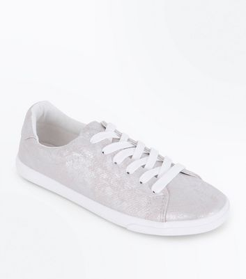Silver Metallic Snake Texture Lace Up Trainers