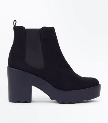 Black Suedette Chunky Cleated Sole Chelsea Boots
