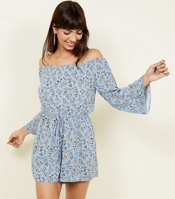 Blue Ditsy Floral Bardot Long Sleeve Playsuit