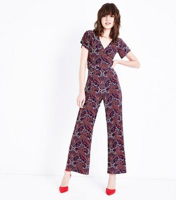 Blue Floral Wrap Front Wide Leg Jumpsuit