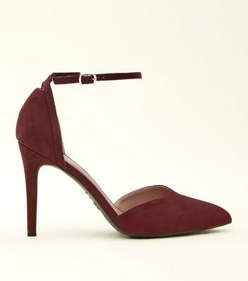 Dark Red Suedette Ankle Strap Pointed Courts