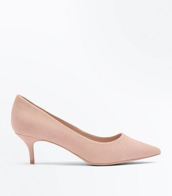 Wide Fit Nude Suedette Kitten Heel Courts