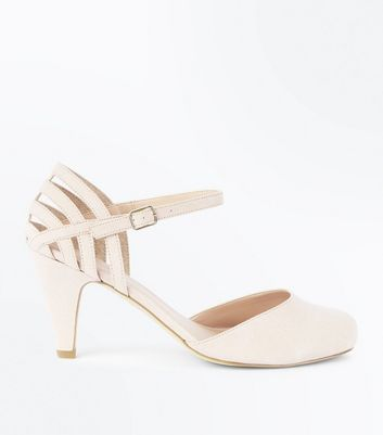 Extra Wide Fit Nude Suedette Cage Back Courts
