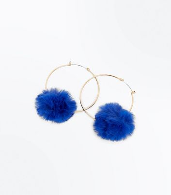 Blue Pom Pom Trim Hoop Earrings