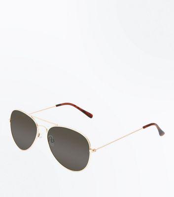New Look Herren Sonnenbrille Aviators, Gold, 60