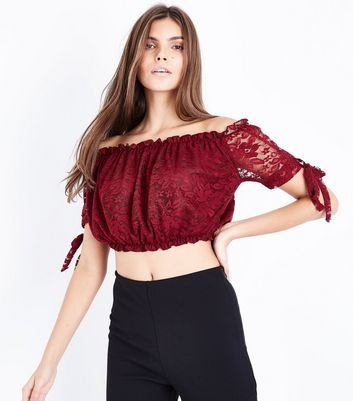 Cameo Rose Burgundy Lace Bardot Crop Top