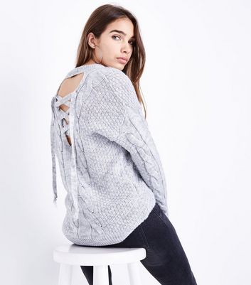 Cameo Rose Grey Cable Knit Lace Up Back Jumper