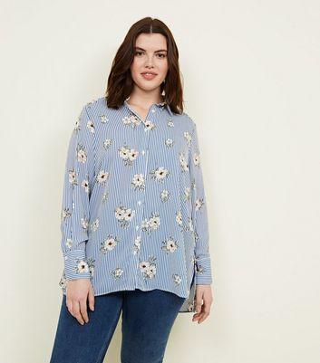 Curves Blue Floral and Stripe Print Shirt