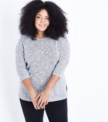 Curves Grey Lattice Back Fine Knit Top
