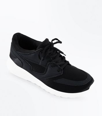 Black Panelled Chunky Sole Trainers