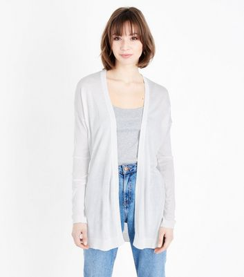 White Lightweight Longline Cardigan