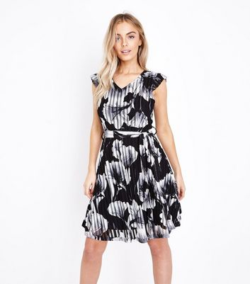 Mela Black Floral Print Stripe Dress