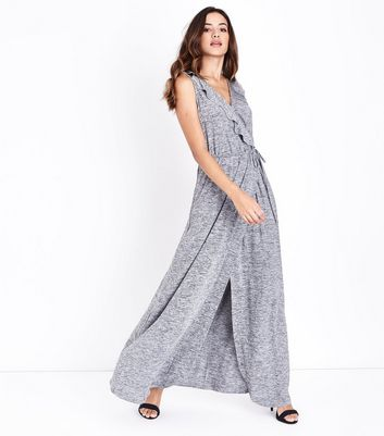 Mela Grey Frill Wrap Front Maxi Dress