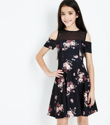 Black Floral Pattern Skater Dress