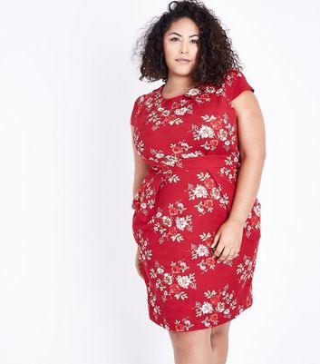 Blue Vanilla Curves Red Floral Tie Back Tulip Dress