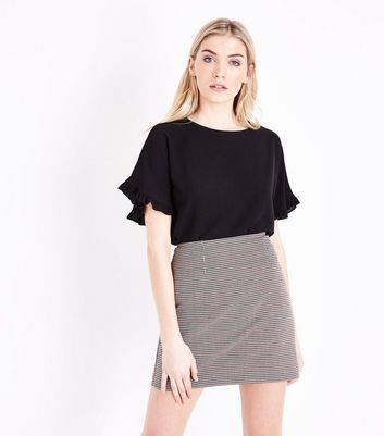 Black Crepe Frill Sleeve Top