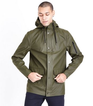 Khaki Hooded Rain Coat