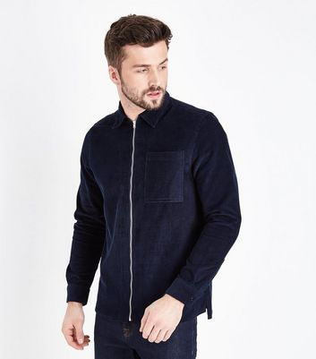 Navy Zip Through Cord Shacket