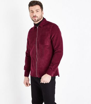 Burgundy Zip Through Cord Shacket