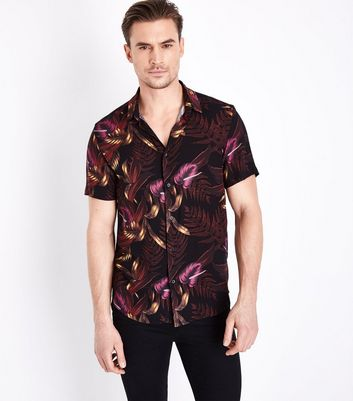Black Floral Print Short Sleeve Shirt