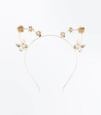 Gold Butterfly Embellished Cat Ears
