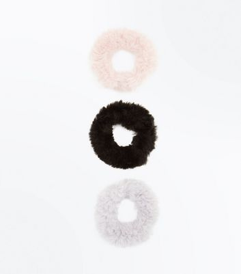 3 Pack Multi Coloured Faux Fur Scrunchie