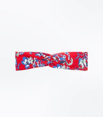 Red Floral Twist Front Headband