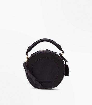 Black Round Top Handle Cross Body Bag