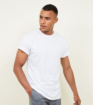 White Rolled Sleeve T-Shirt