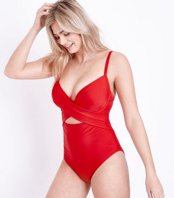Red DD-G Underwired Cross Front Swimsuit