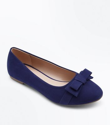 Teens Navy Suedette Bow Ballet Pumps