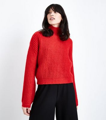 Red Ribbed Funnel Neck Jumper