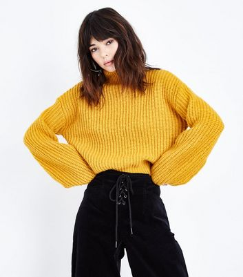 Mustard Ribbed Funnel Neck Jumper