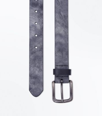 Black Coated Leather-Look Belt