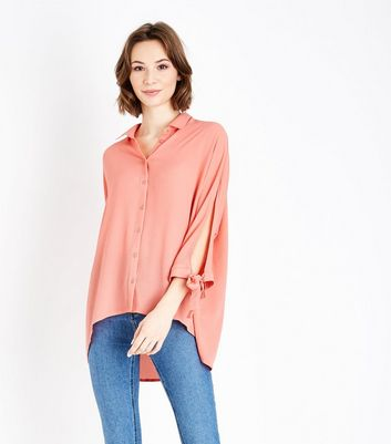Coral Tie Batwing Sleeve Shirt