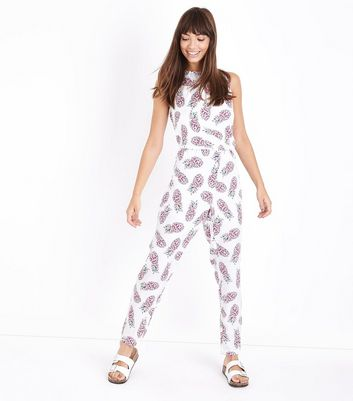 Noisy May White Pineapple Print Jumpsuit