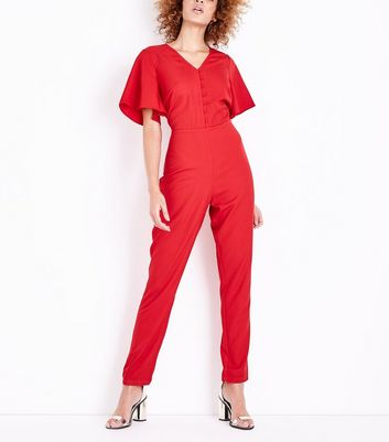 Tall Red Angel Sleeve Button Front Jumpsuit