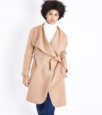 Parisian Camel Oversized Waterfall Belted Coat