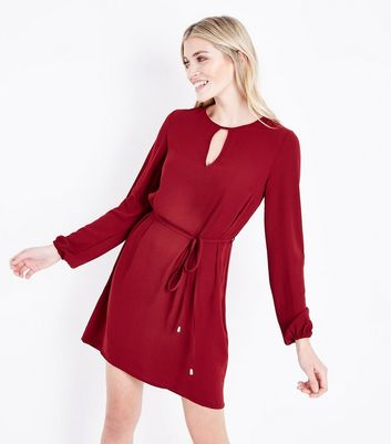 Tall Plum Keyhole Belted Tunic Dress