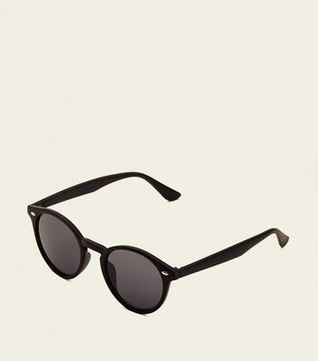Black Patterned Round Sunglasses