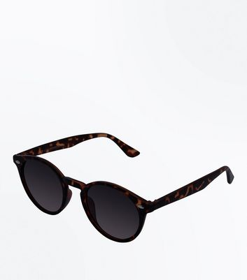 Brown Patterned Round Sunglasses